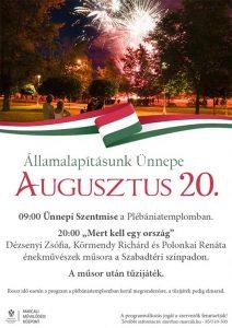 Államalapításunk ünnepe - augusztus 20. @ Plébániatemplom, Szabadtéri színpad