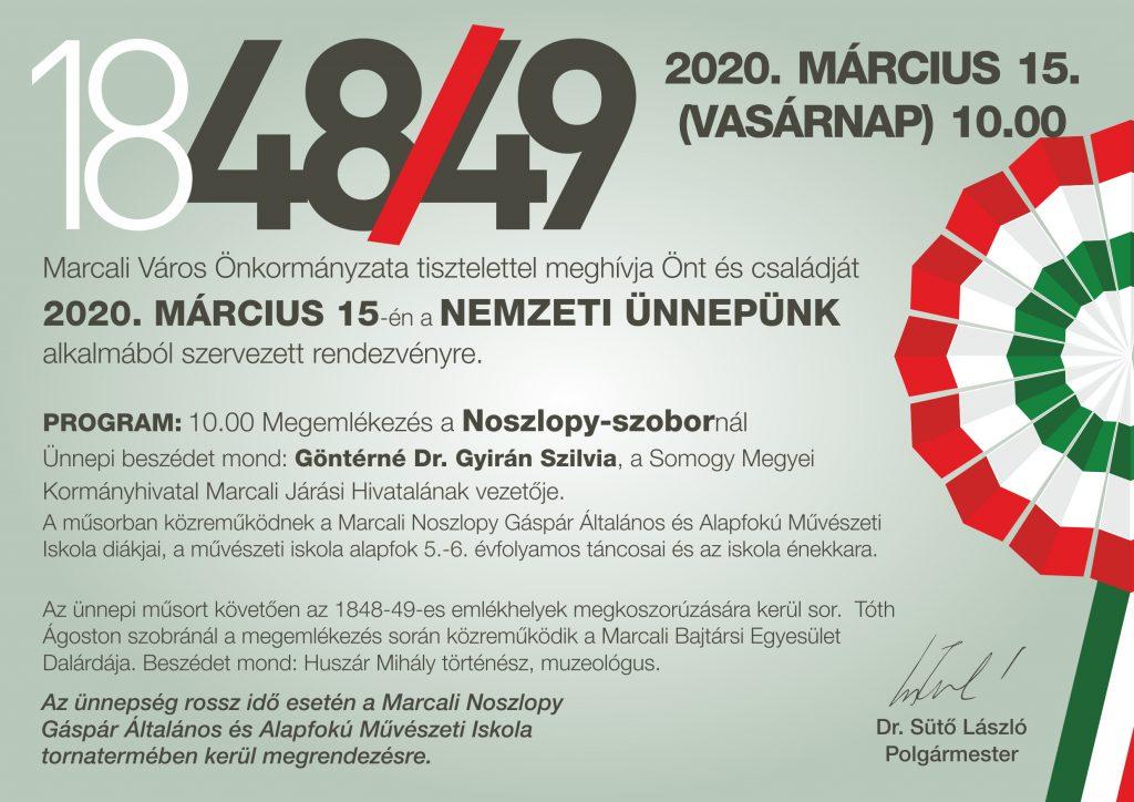 Március 15 -i ünnepség Marcaliban